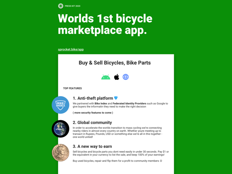 Sprocket App Press Kit PDF & .Sketch Template marketplace bicycle kit press press kit pdf .sketch template green branding design material app sprocket