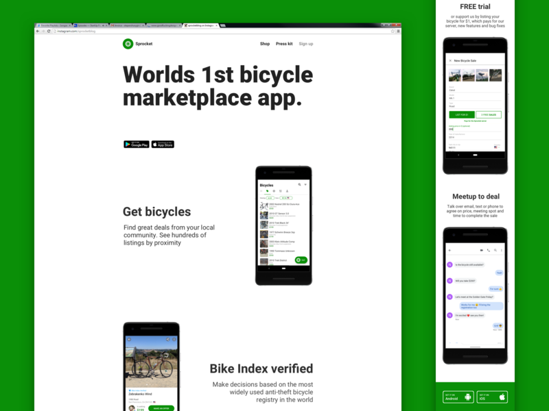 Sprocket Web App Marketing Page Redesign marketplace android screenshots branding design bicycle sprocket ux ui