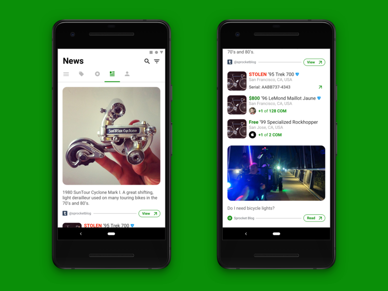 Sprocket Android News Feed w Social Proof rounded redesign sold for sale nearby newsfeed news stolen bike ux mobile bicycle sprocket android