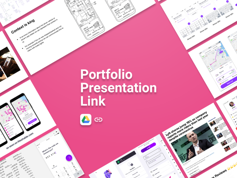 Playbook Portfolio Presentation Link design mobile thinking story deck presentation portfolio design googledrive drive link portfolio lyft ios android