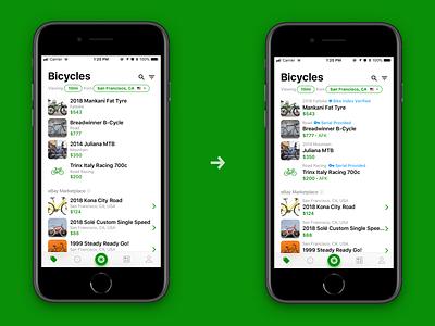 Sprocket iOS Marketplace AFK Update scroll listing sale iphone redesign marketplace serials serial afk bike bicycle sprocket ux ios