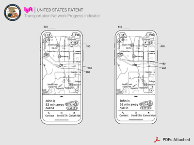 Lyft Patent: Transit Network Progress Indicators design waiting arrival arrive traffic network mobile app android ios rideshare patents patent lyft