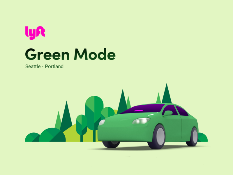 Lyft Green Mode selector mobile android ios rideshare illustration climate change environment tesla app electric car electric green lyft