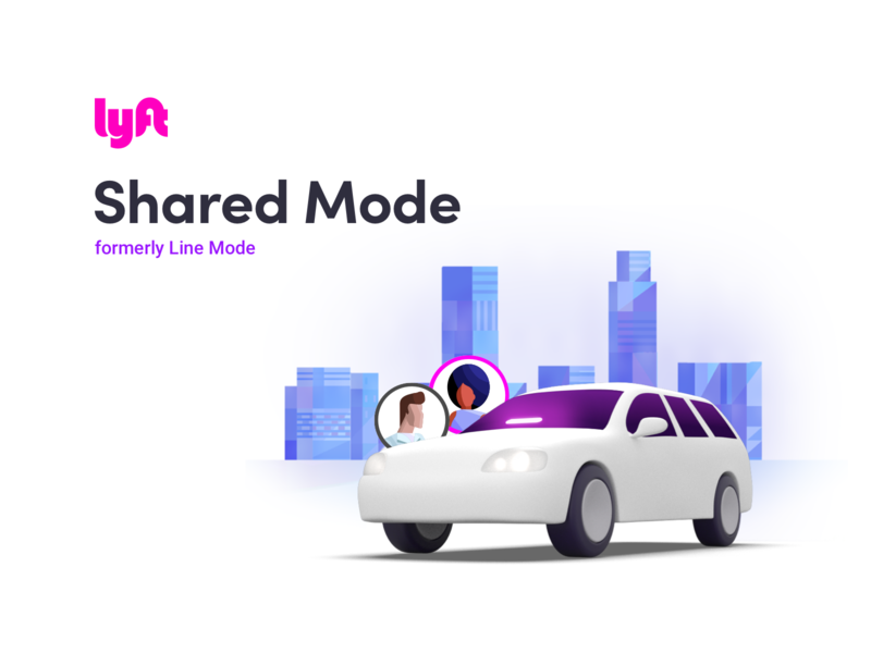 Lyft Shared Mode community together app mobile android ios user friendly save money save share rideshare illustraion shared lyft