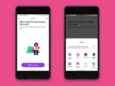 Lyft Android Auth Intention Flow Referral Screen rideshare money share new sign up authentication referrals referral refer ux mobile design mobile lyft android
