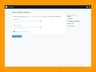 OneSignal Amazon Fire SDK Setup Redesign ux sign up simple intuitive web setup console notifications onesignal redesign sdk fire amazon android