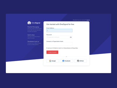 OneSignal Sign Up UI Refresh notifications notification onesignal create account log in sign in sign up authentication auth github fb facebook google ui
