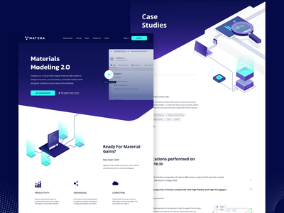 Mat3ra Website Redesign startup ui illustration cloud enterprise rebrand redesign research simulation purple material website web