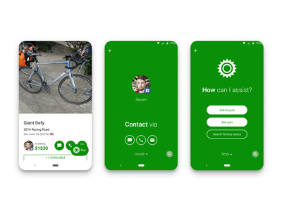 Sprocket Android Sale Item Assistant Buy Button email call text fab assistant contact sell buy bicycle bike green material sprocket android