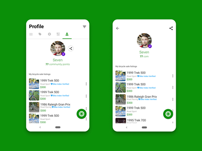 Sprocket Android Viewable/Shareable Profiles sell buy marketplace bicycles bikes avatar seo ux view share profile material android sprocket