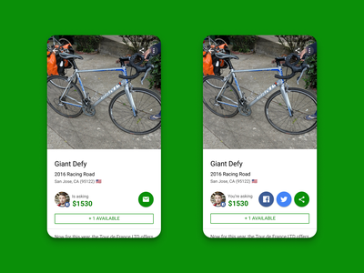 Sprocket Android Share Bttns on Your Sale Items ux marketplace market view self your bicycle bike sprocket material facebook twitter share android