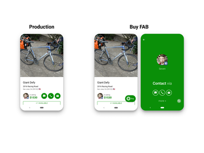 Sprocket Android Contact Buttons UX Redesign user friendly marketplace green buttons button text sms call email fix redesign ux contact buy fab material android bicycle bike sprocket