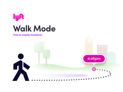 Lyft Walk Mode mode ios android self time discount free save money ui ux innovation navigation navigate route find maps map walk lyft