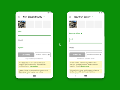 Sprocket Android Bounties Feature wanted tabs feedback need want search find bounty hunger bounties bounty feature ux ui mobile app material android sprocket bicycle bike
