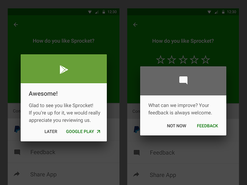 Sprocket AND 1.3.3 OS Consistent Dialogs easy maintainable google play marshmellow lollipop feedback rate consistent dialog android sprocket