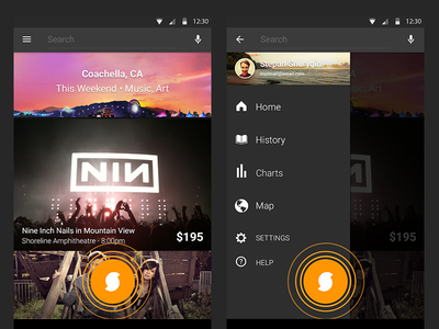 SoundHound Android Redesign 2013 consistent drawer material appwide navigation identification music identify id fab android soundhound