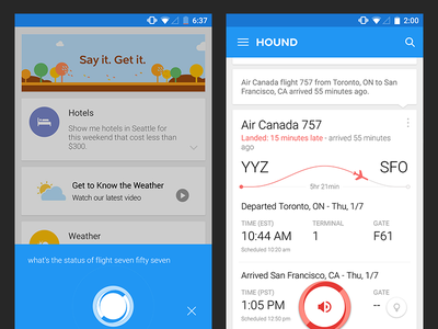 Hound Android Flight Results UIX app android schedule plane flight ai audio assistant voice soundhound hound