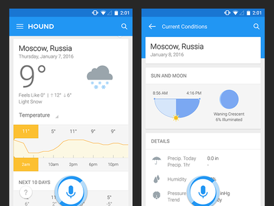 Hound Android Weather Results UIX ux android scifi audio assistant voice search soundhound result temperature weather hound