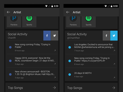 SoundHound Artist Social Activity Card ux google twitter facebook social song identify id music ios android soundhound