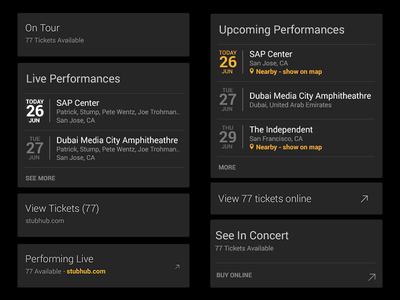 SoundHound Ticket Card Designs location performance venue identify id song music ux ui ios android soundhound