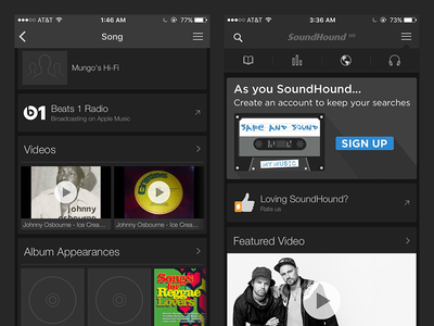 SoundHound Premium Card content link promo promotion partner versatile music ad ui ios android soundhound