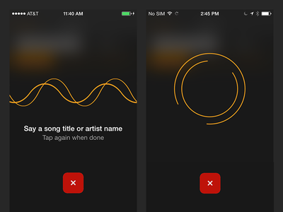 SoundHound iOS Voice Search redesign ui artist song blur simple ios animation search voice hound soundhound