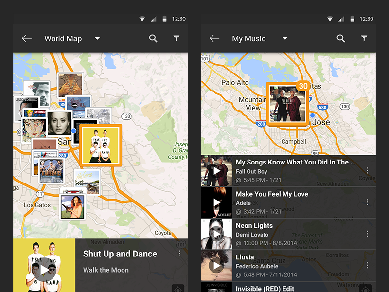 SoundHound Android Music Map Selection by Seven on Dribbble