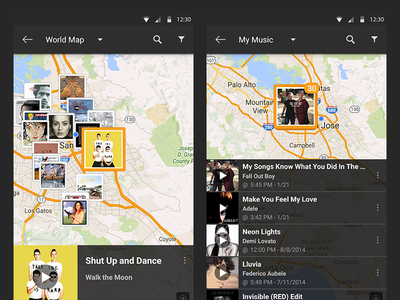 SoundHound Android Music Map Selection material thick stack orange frame selection select song music map android soundhound