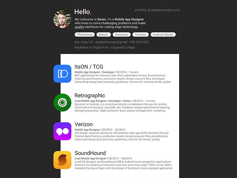 material mobile app designer resume by seven dribbble