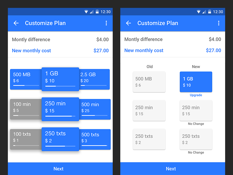ItsON Upgrade/Downgrade Plan Carousel Android by Seven on Dribbble