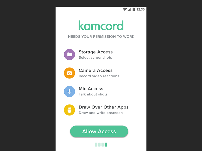 Kamcord Android Sign Up Permissions X12 dialog access sign up tutorial design simple material android permissions permission ux ui