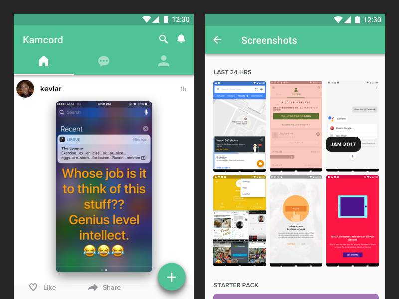 Kamcord Android Material UX Concept interface screenshots green design mockup concept ux bottom tabs fab material android