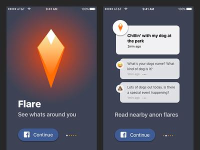 Flare iOS Auth Carousel emoji simple tutorial carousel sign up facebook post social ui ux iphone ios