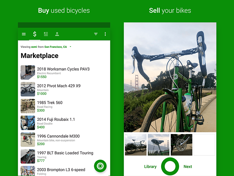 Sprocket Android 1.5 Play Store Screenshots design green material google play search mobile app bicycle android camera screenshot