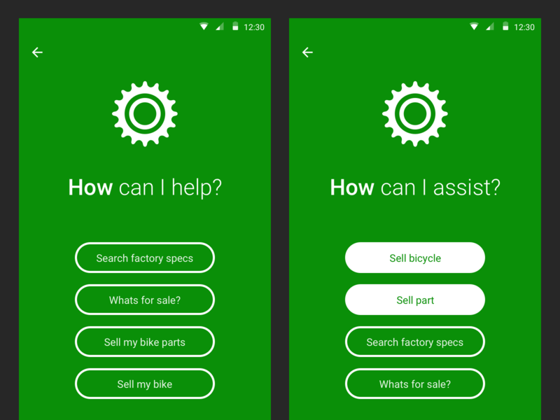 Sprocket Android 1.5.44.7 Assistant Improvements sell mobile bike assistant green material bicycle ux ui app sprocket android