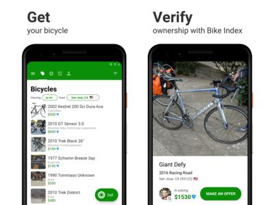 Sprocket Android Bike Index Screenshots