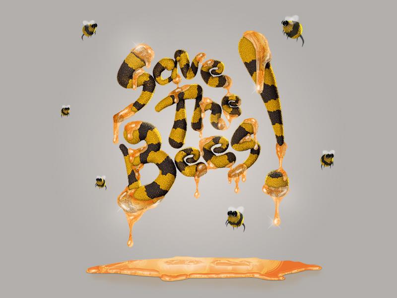 Save The Bees! cinema 4d c4d cinema4d illustration photoshop cs6 bees 3d animation bumble honey drip goo environment alex sheyn typography