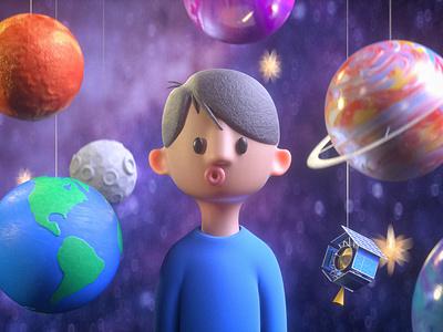 Star Boy astronaut kids illustration cartoon space astronomy planets earthday earth day render design c4d 3d cinema 4d alex sheyn