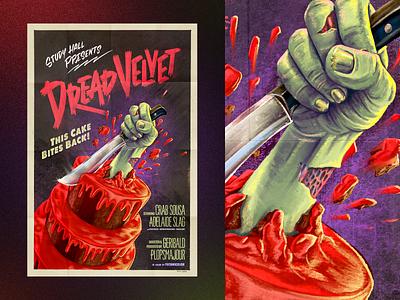 Dread Velvet horror movie horror lettering typography blood cake knife hand procreate painted poster illustration alex sheyn