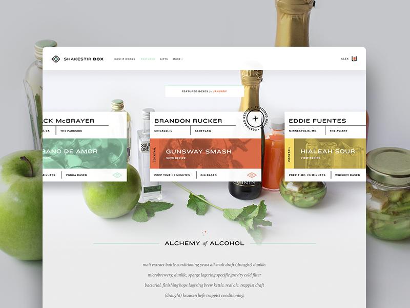 Alchemy of Alcohol web branding alcohol interface typography teal orange yellow alex sheyn website