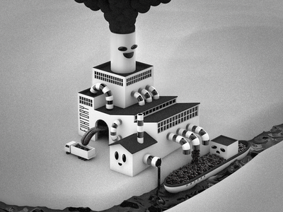 Fuktory cinema 4d c4d alex sheyn render 3d illustration factory black and white tongue water boat