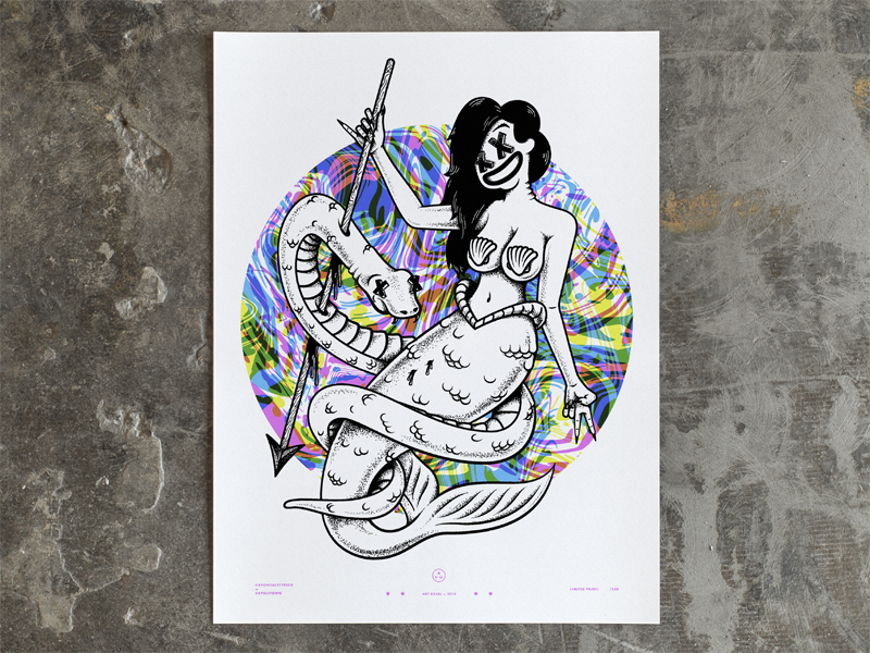 Mermaid Print mermaid print poster screen print 4 color sea snake stipple illustration