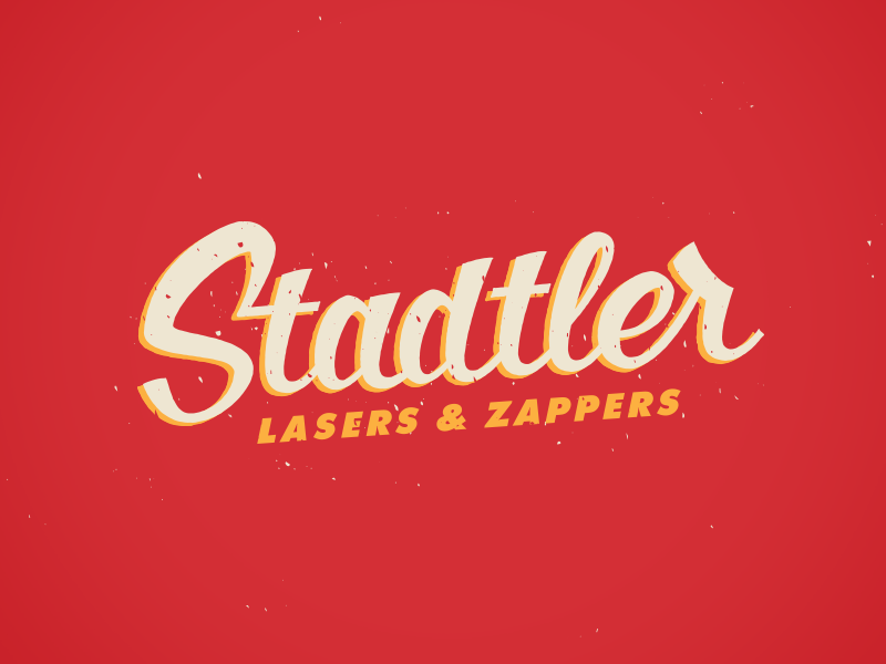 Lasers & Zappers logo lettering script old school grunge sign painting laser