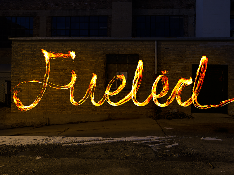 Fueled Fire Type fueled chicago fire script typography type long exposure photography