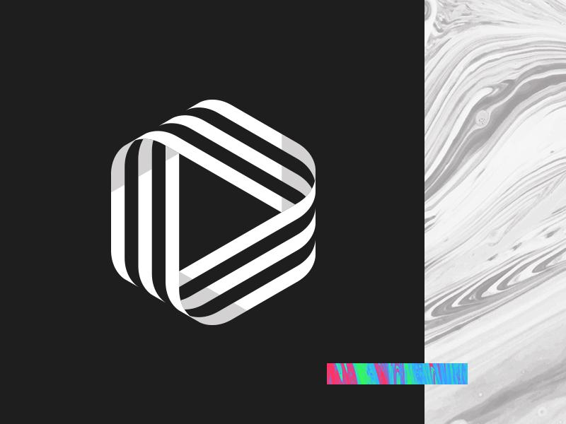 Philo Media Logo alex sheyn hexagon ribbon rgb white black brand play paint marble logo