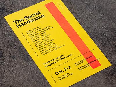 The Secret Handshake Poster print riso alex sheyn secret handshake neon conference pink yellow texture lo-fi risograph poster