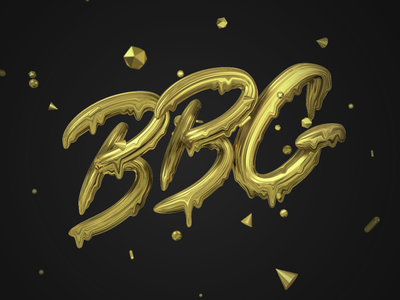 BBG Gold Melt 3d black type gold drippy typography c4d cinema 4d