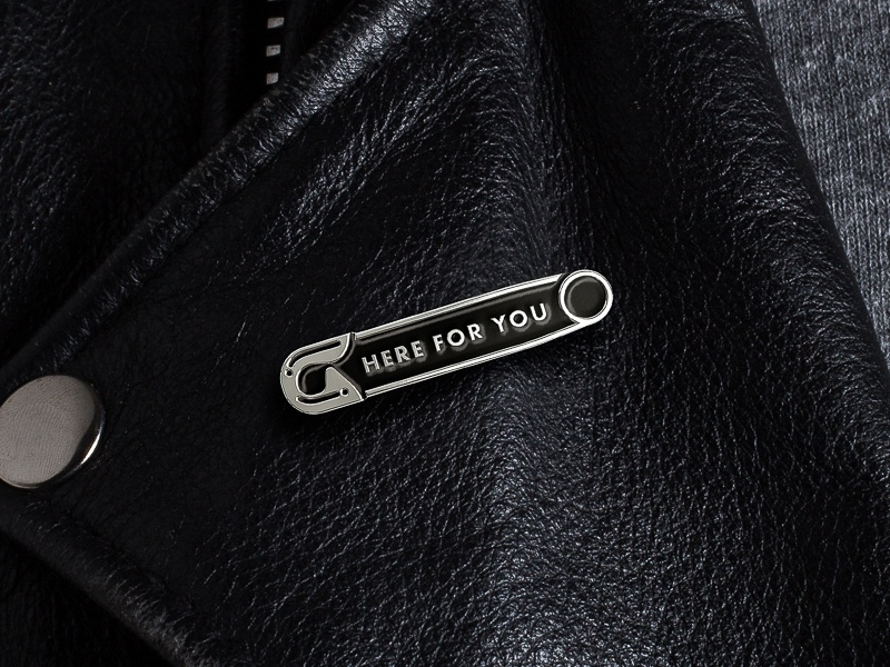 """Here For You"" Enamel Pin etsy sale protest movement safety pin enamel pin"