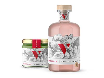 Veronica's Packaging design makeup jar flower print bottle cosmetics packaging