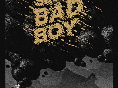 Secret Bad Boy stipple lettering drippy black gold goop drip